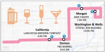 pink line pub crawl map